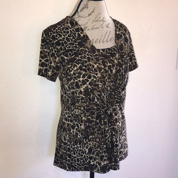91fdf9cfac81 Alfani Tops | Abstract Leopard Print Stretch Blouse Top | Poshmark